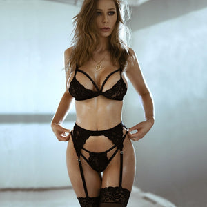 3pcs Lace Bra and Panty Set Women Sexy Underwear - E.Y.U Store