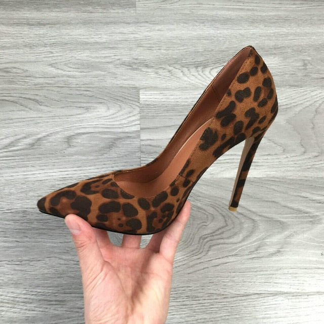 2020 Women Classic Pumps Extreme High Heels 12cm Sexy Stilettos Ladies Pointed Toe Shoes Nude Red Blue Black Beige Leopard Heels