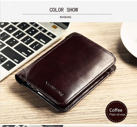 ManBang Classic Style Wallet Genuine Leather Men Wallets - E.Y.U Store