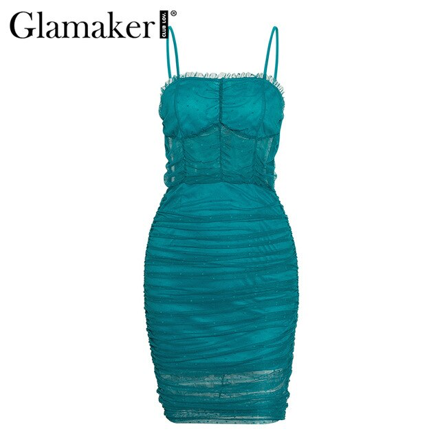 Glamaker Mesh transparent bodycon midi dress
