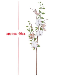 Naturally Dried Cotton Flowers Artificial Plants Floral Branch for Wedding Party Decoration Fake Flowers Home Artificial Decor - E.Y.U Store