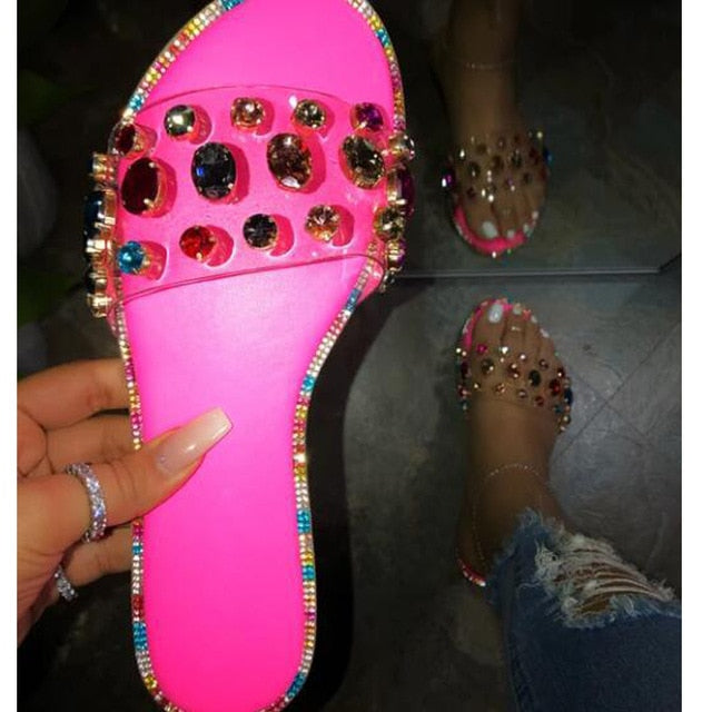 Glitter Slippers Women Summer Sandals 2020 Fashion Bling Female Candy Color Flip Flops Beach Diamond Flat Shoes Outdoor Sandals - E.Y.U Store