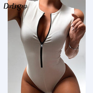 Darlingaga Zipper Skinny Tank Sexy Bodysuit Women Fashion Bodycon Body Basic Top Sleeveless Summer Bodysuits Jumpsuit One Piece - E.Y.U Store
