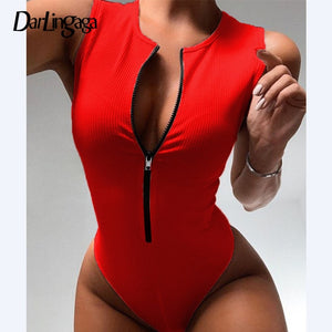 Darlingaga Zipper Skinny Tank Sexy Bodysuit Women Fashion Bodycon Body Basic Top Sleeveless Summer Bodysuits Jumpsuit One Piece