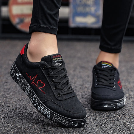 Vulcanized Shoes Sneakers Ladies Lace-up Casual Shoes - E.Y.U Store