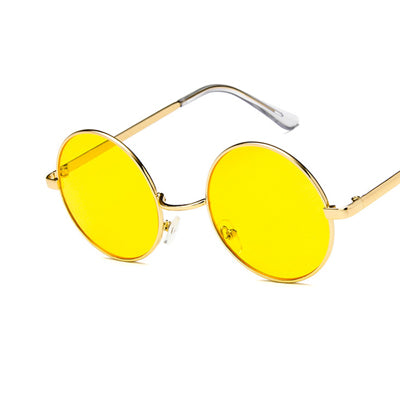 Round Women Vintage Metal Frame Sunglasses
