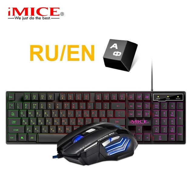 Gaming keyboard and Mouse Wired keyboard with backlight keyboard Russia Gamer kit 5500Dpi Silent Gaming Mouse Set For PC Laptop - E.Y.U Store