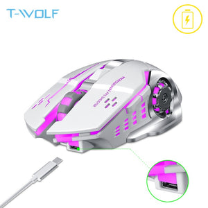 T-WOLF Q13 Rechargeable Wireless Mouse Silent Ergonomic Gaming Mice 6 Keys RGB Backlight 2400 DPI for Laptop Computer Pro Gamer - E.Y.U Store