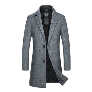 Wool Casual Slim Fit Thicken Warm Long Coat