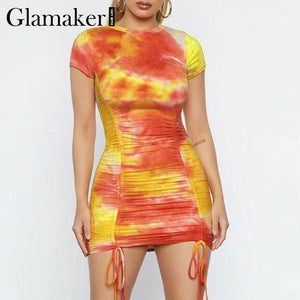 Glamaker Drawstring tie-dye bodycon dress - E.Y.U Store