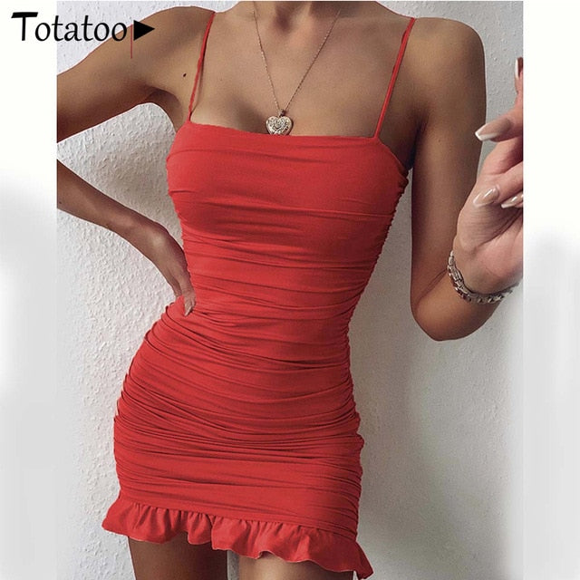 Totatoop Lace Up V Neck Ruched Bodycon Mini Dress Women 2020 Summer Hollow Out Ruffles Sundress Beachwear Vestidos - E.Y.U Store