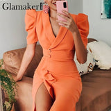 Glamaker Puff sleeve ruffles bodycon dress - E.Y.U Store