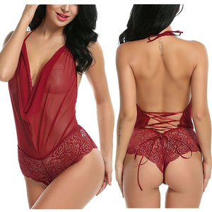 Women Sexy  Nightwear Underwear G String Lace Sling Sleepwear Teddies Bodysuits plus size - E.Y.U Store