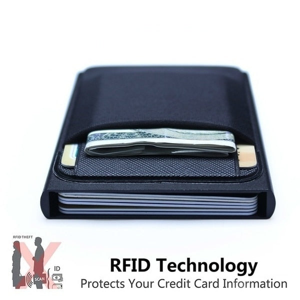 Men Business Aluminum  Cash ID Card Holder RFID Blocking