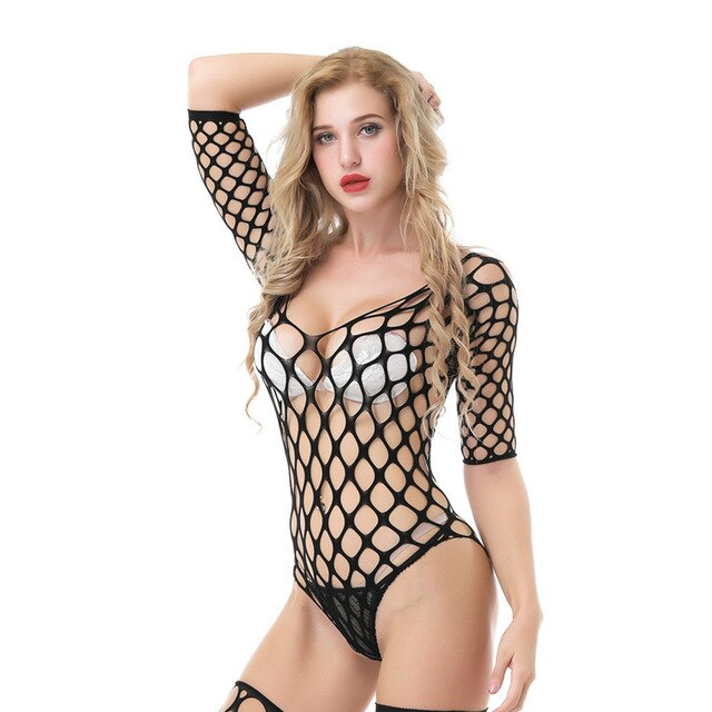 Sexy Body Suit plus size lingerie Babydoll BODYSUIT Mesh Women Hollow Out Garter Halter Teddy backless Catsuit Fishnet Nightwear