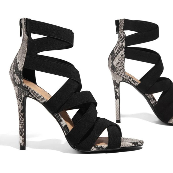 Snake Summer Shoes Woman Pumps High Thin Heels Pointed Toe Rhinestone Gladiator Pumps Party Sexy Shoes Prom Shoes - E.Y.U Store