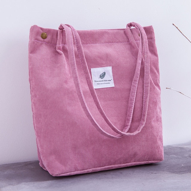 Women Corduroy Shopping Bag - E.Y.U Store