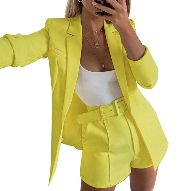Trouser set Women Sets Autumn long sleeve cardigan Blazer shorts