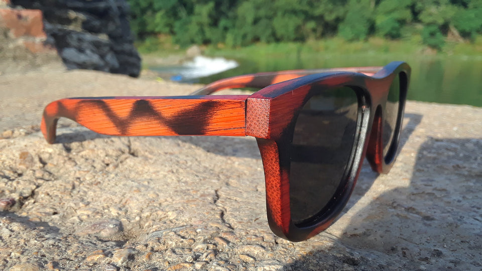 Red Burnt Bamboo Sunglasses With Wood Case, Stars and Bars, Polarized