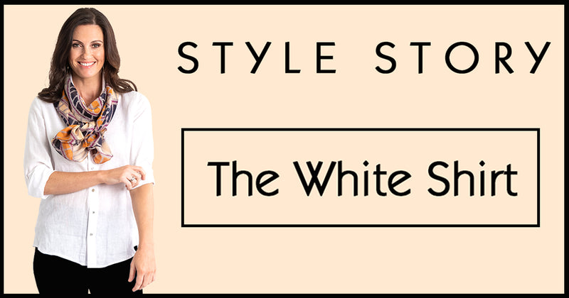 How to style a scarf with a white shirt
