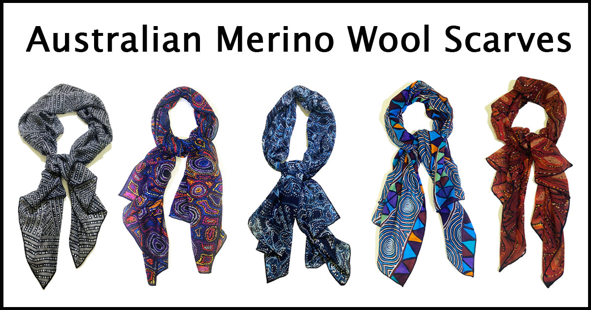 Australian Merino Wool Scarves Aboriginal Design Fashion
