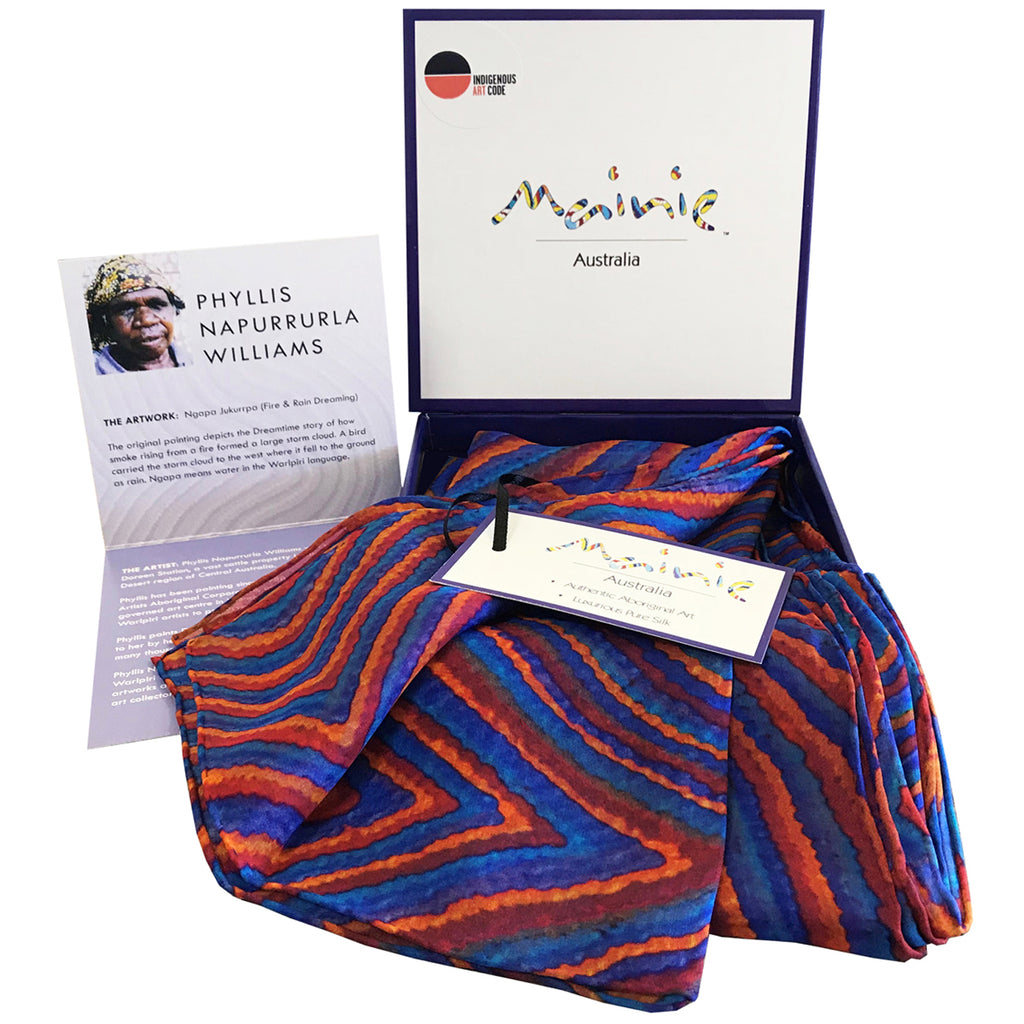 Mainie Australia Souvenir Aboriginal Art Gift Silk Scarf Fire and Rain Print