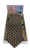 Mainie Australia Souvenir Aboriginal Art Gift Silk Neck Tie and Pocket Square Set Seahorses Print