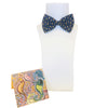 Mainie Australia Souvenir Aboriginal Art Gift Silk Bow Tie and Pocket Square Set Seahorses Print