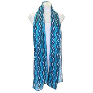 Waves Long Rectangle Silk Chiffon Scarf 67.5cm x 180cm - Mainie Australia