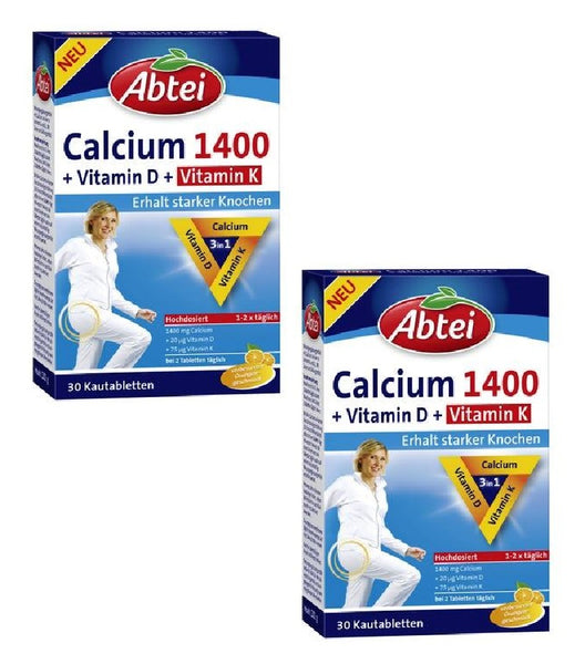 2xPacks Abtei Calcium 1400 +Vitamin D +Vitamin K.(60 Chewable Tablets)