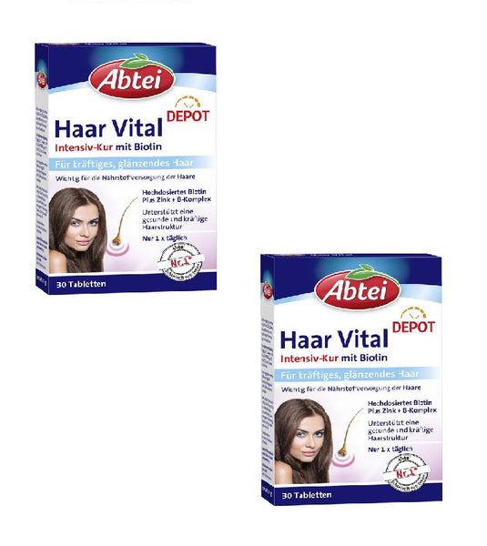 2x Packs ABTEI Hair Vital Beauty Cure Depot Tablets with Zinc Biotin - Eurodeal.shop
