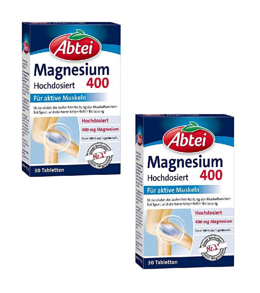 2x Pack Abtei Magnesium 400 Tablets Dietary Supplement - Eurodeal.shop