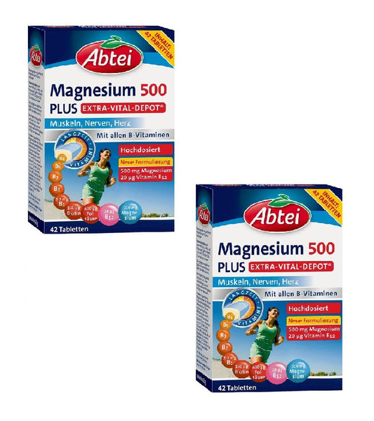 2x Pack Abtei Magnesium 500 Tablets Dietary Supplement with Vitamin B Complex - Eurodeal.shop
