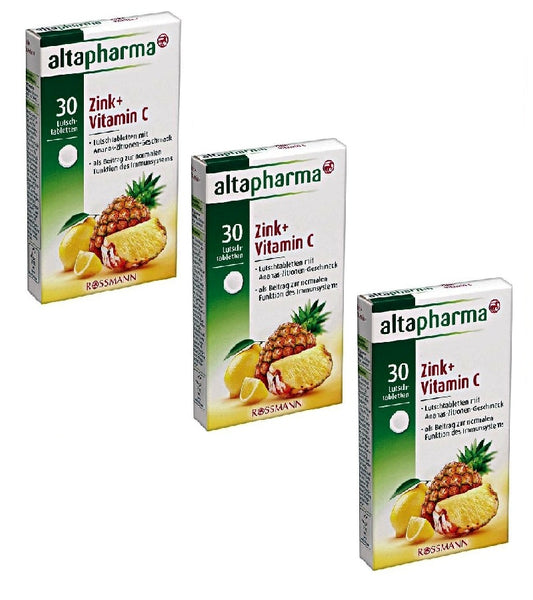 3xPack Altapharma Pineapple-Lemon Flavor Lozenges Zinc+ Vitamin C - Eurodeal.shop