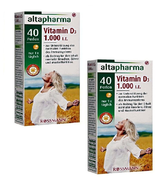 2x Packs Altapharma Dietary Supplement with Vitamin D3, 1.000 I.E - Eurodeal.shop