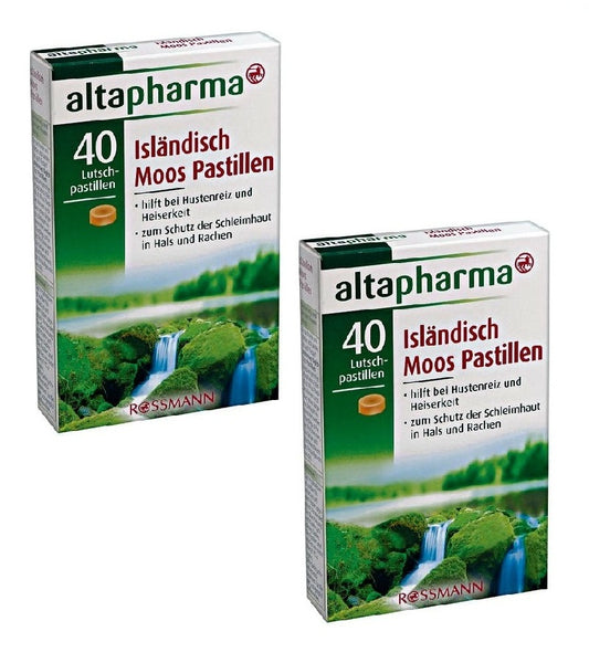 2x Packs Altapharma Icelandic Moss Lozenges 40 Pcs-Cough and Hoarsenss - Eurodeal.shop