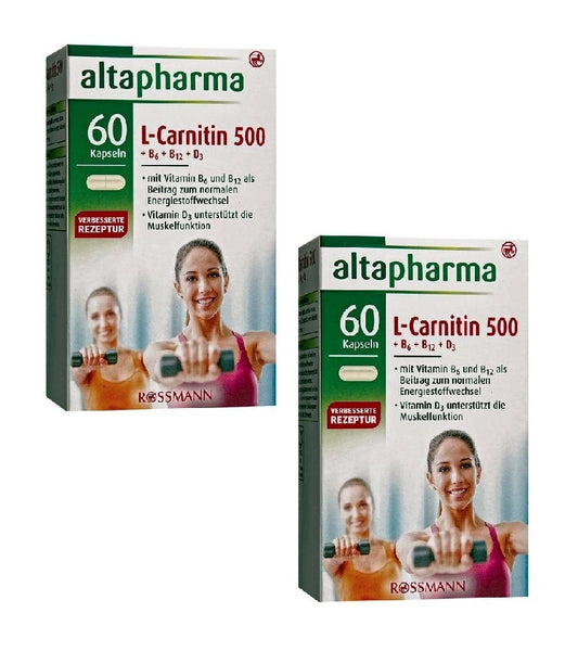 2xPacks Altapharma L-Carnitine 500 + Vitamins B6+B12+D3 Supplements - Eurodeal.shop