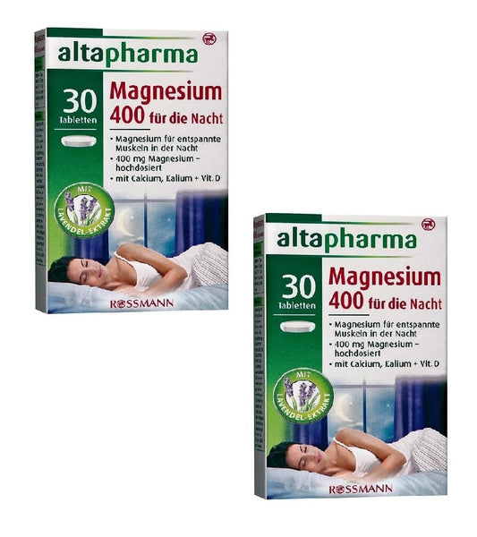 2x Pack Altapharma Magnesium 400 High Doses for the Night - 60 Tablets - Eurodeal.shop