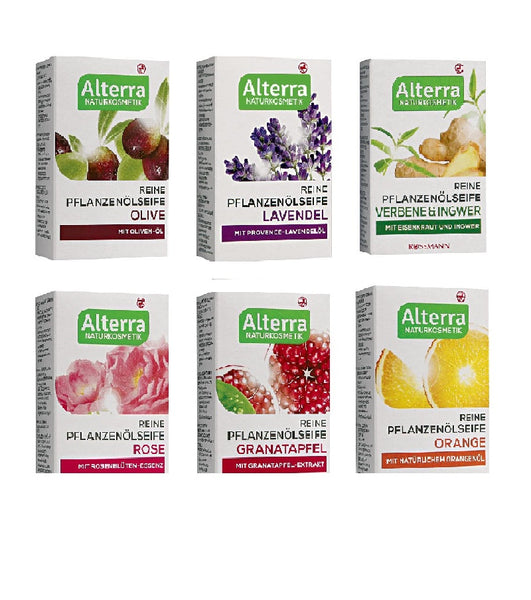 Collection of Six Bars of Alterra Pure Natural Vegetable Fruit Floral Oil Soap - 6 Scents (100g each) - Eurodeal.shop