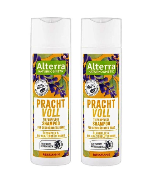 2xPack Alterra Organic Magnificent Deep Care Shampoo for Damaged Hair - 400 ml