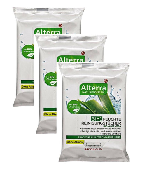 3xPack Alterra Organic Aloe Vera Moist Cleaning Wipes - 75 Pcs