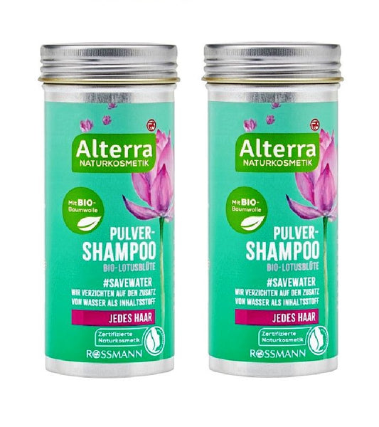 2xPack Alterra Organic Cotton and Lotus Blossom Powder Shampoo - 120 g