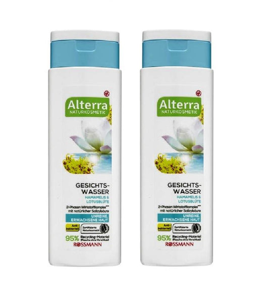 2xPack Alterra Organic Witch Hazel & Lotus Blossom Toner - 300 ml