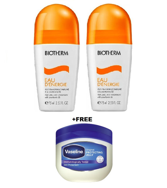 2xPack BIOTHERM Eau d'Énergie Deodorant Roll-On - 150 ml +FREE Vaseline Original 100 ml