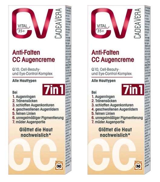 2x Packs CV (CadeaVera)  Vital 35+ Anti-wrinkle CC Eye Cream 7-in-1 - Eurodeal.shop
