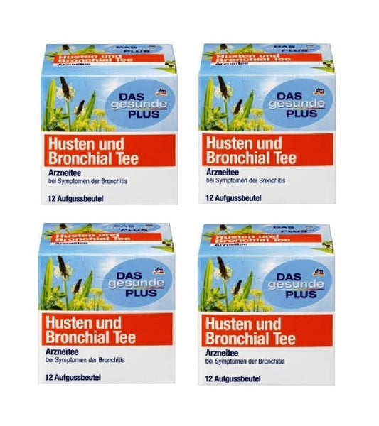 4x Pack Das Gesunde Plus or Altapharma Cough & Bronchial Tea  48 Bags