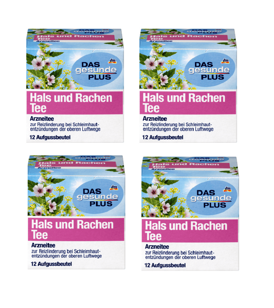 4x Packs Das Gesunde PLUS Medicinal Throat & Pharynx Tea - 48 Bags - Eurodeal.shop