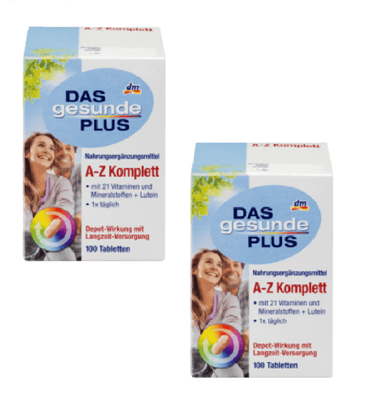 2x Pack Das Gesunde Plus AZ complete Tablets, Minerals and Vitamins - Eurodeal.shop