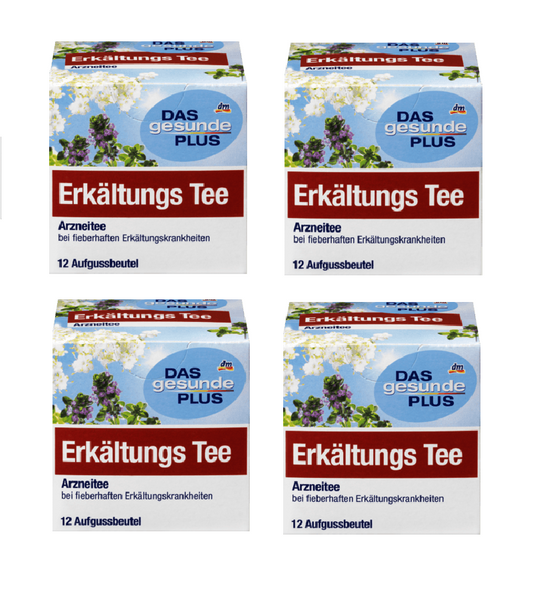 4x Packs DAS Gesunde PLUS Medicinal Tea, for Cold and Flu Relief - 48 Bags - Eurodeal.shop