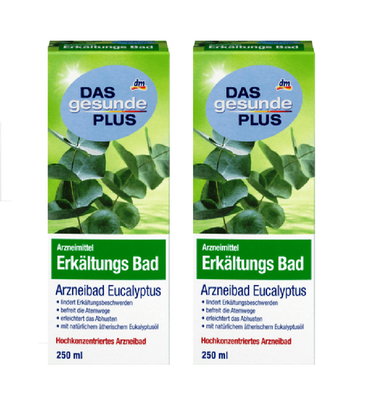 2x Pack DAS Gesunde PLUS, Eucalyptus Cold Medicinal Bath Oil, 250 ml each - Eurodeal.shop